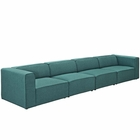 Modway Mingle 4 Piece Upholstered Fabric Sectional Sofa Set in Teal MY-EEI-2829-TEA