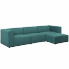 Modway Mingle 4 Piece Upholstered Fabric Sectional Sofa Set in Teal MY-EEI-2831-TEA