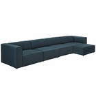 Modway Mingle 5 Piece Upholstered Fabric Sectional Sofa Set in Blue MY-EEI-2833-BLU