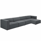 Modway Mingle 5 Piece Upholstered Fabric Sectional Sofa Set in Gray MY-EEI-2833-GRY