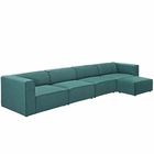 Modway Mingle 5 Piece Upholstered Fabric Sectional Sofa Set in Teal MY-EEI-2833-TEA