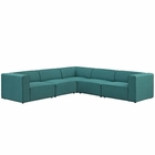 Modway Mingle 5 Piece Upholstered Fabric Sectional Sofa Set in Teal MY-EEI-2835-TEA
