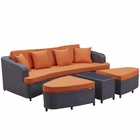 Modway Monterey 4 Piece Outdoor Patio Wicker Rattan Sofa Set in Brown Orange MY-EEI-992-BRN-ORA-SET