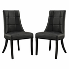 Modway Noblesse Dining Chair Faux Leather Set of 2 in Black MY-EEI-1298-BLK
