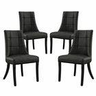 Modway Noblesse Dining Chair Faux Leather Set of 4 in Black MY-EEI-1678-BLK