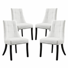 Modway Noblesse Dining Chair Faux Leather Set of 4 in White MY-EEI-1678-WHI