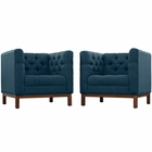 Modway Panache Living Room Furniture Upholstered Fabric 2 Piece Set in Azure MY-EEI-2436-AZU-SET