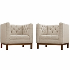 Modway Panache Living Room Furniture Upholstered Fabric 2 Piece Set in Beige MY-EEI-2436-BEI-SET