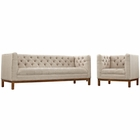 Modway Panache Living Room Furniture Upholstered Fabric 2 Piece Set in Beige MY-EEI-2437-BEI-SET
