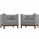 Modway Panache Living Room Furniture Upholstered Fabric 2 Piece Set in Expectation Gray MY-EEI-2436-GRY-SET