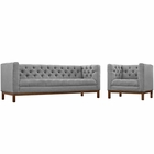 Modway Panache Living Room Furniture Upholstered Fabric 2 Piece Set in Expectation Gray MY-EEI-2437-GRY-SET