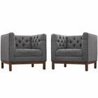 Modway Panache Living Room Furniture Upholstered Fabric 2 Piece Set in Gray MY-EEI-2436-DOR-SET