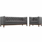Modway Panache Living Room Furniture Upholstered Fabric 2 Piece Set in Gray MY-EEI-2437-DOR-SET