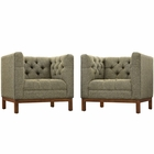 Modway Panache Living Room Furniture Upholstered Fabric 2 Piece Set in Oatmeal MY-EEI-2436-OAT-SET