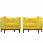 Modway Panache Living Room Furniture Upholstered Fabric 2 Piece Set in Sunny MY-EEI-2436-SUN-SET