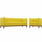 Modway Panache Living Room Furniture Upholstered Fabric 2 Piece Set in Sunny MY-EEI-2437-SUN-SET