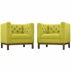 Modway Panache Living Room Furniture Upholstered Fabric 2 Piece Set in Wheatgrass MY-EEI-2436-WHE-SET