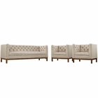 Modway Panache Living Room Furniture Upholstered Fabric 3 Piece Set in Beige MY-EEI-2435-BEI-SET