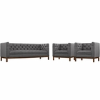 Modway Panache Living Room Furniture Upholstered Fabric 3 Piece Set in Gray MY-EEI-2435-DOR-SET