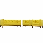 Modway Panache Living Room Furniture Upholstered Fabric 3 Piece Set in Sunny MY-EEI-2435-SUN-SET