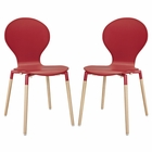 Modway Path Dining Chair Set of 2 in Red MY-EEI-1368-RED