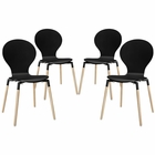Modway Path Dining Chair Set of 4 in Black MY-EEI-1369-BLK