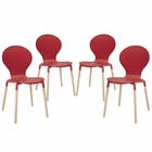Modway Path Dining Chair Set of 4 in Red MY-EEI-1369-RED