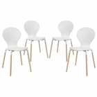 Modway Path Dining Chair Set of 4 in White MY-EEI-1369-WHI