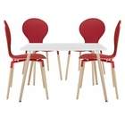Modway Path Dining Chairs and Table Set of 5 in Red MY-EEI-1371-RED