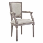 Modway Penchant Vintage French Upholstered Fabric Dining Armchair in Beige MY-EEI-2606-BEI