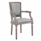 Modway Penchant Vintage French Upholstered Fabric Dining Armchair in Light Gray MY-EEI-2606-LGR