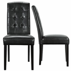 Modway Perdure Parsons Dining Chairs Faux Leather Set of 2 in Black MY-EEI-952-BLK