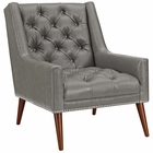 Modway Peruse Faux Leather Armchair in Gray MY-EEI-2307-GRY