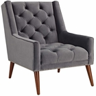 Modway Peruse Upholstered Fabric Velvet Armchair in Gray MY-EEI-2306-GRY