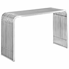 Modway Pipe Stainless Steel Console Table in Silver MY-EEI-2104-SLV