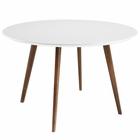 Modway Platter Round Dining Table in White MY-EEI-1064-WHI