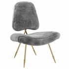 Modway Ponder Upholstered Sheepskin Fur Lounge Chair in Gray MY-EEI-2810-GRY