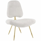 Modway Ponder Upholstered Sheepskin Fur Lounge Chair in White MY-EEI-2810-WHI