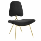 Modway Ponder Upholstered Velvet Lounge Chair in Black MY-EEI-2809-BLK