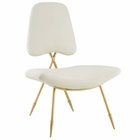 Modway Ponder Upholstered Velvet Lounge Chair in Ivory MY-EEI-2809-IVO