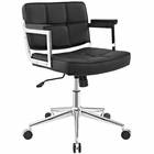 Modway Portray Mid Back Faux Leather Office Chair in Black MY-EEI-2686-BLK
