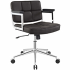 Modway Portray Mid Back Faux Leather Office Chair in Brown MY-EEI-2686-BRN