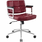 Modway Portray Mid Back Faux Leather Office Chair in Red MY-EEI-2686-RED