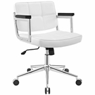 Modway Portray Mid Back Faux Leather Office Chair in White MY-EEI-2686-WHI