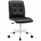 Modway Prim Armless Mid Back Faux Leather Office Chair in Black MY-EEI-1533-BLK