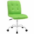 Modway Prim Armless Mid Back Faux Leather Office Chair in Bright Green MY-EEI-1533-BGR