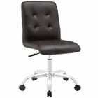 Modway Prim Armless Mid Back Faux Leather Office Chair in Brown MY-EEI-1533-BRN