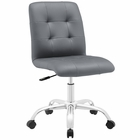 Modway Prim Armless Mid Back Faux Leather Office Chair in Gray MY-EEI-1533-GRY