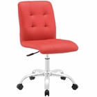 Modway Prim Armless Mid Back Faux Leather Office Chair in Red MY-EEI-1533-RED