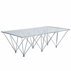 Modway Prism Rectangle Stainless Steel Coffee Table in Clear MY-EEI-260